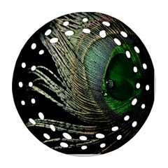 Feather Peacock Drops Green Ornament (round Filigree) by Simbadda