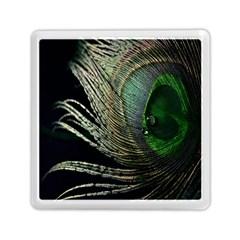 Feather Peacock Drops Green Memory Card Reader (square)  by Simbadda