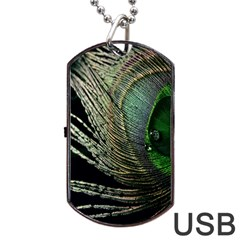 Feather Peacock Drops Green Dog Tag Usb Flash (two Sides) by Simbadda