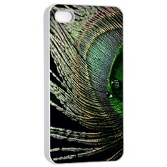 Feather Peacock Drops Green Apple Iphone 4/4s Seamless Case (white) by Simbadda