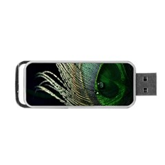 Feather Peacock Drops Green Portable Usb Flash (one Side) by Simbadda