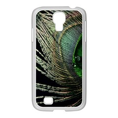 Feather Peacock Drops Green Samsung Galaxy S4 I9500/ I9505 Case (white) by Simbadda
