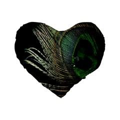 Feather Peacock Drops Green Standard 16  Premium Flano Heart Shape Cushions by Simbadda