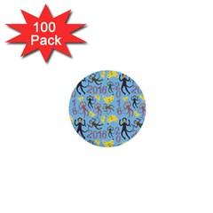 Cute Monkeys Seamless Pattern 1  Mini Buttons (100 Pack)  by Simbadda