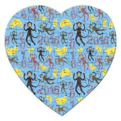 Cute Monkeys Seamless Pattern Jigsaw Puzzle (heart) by Simbadda