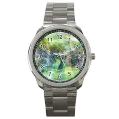 Digitally Painted Abstract Style Watercolour Painting Of A Peacock Sport Metal Watch by Simbadda