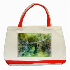 Digitally Painted Abstract Style Watercolour Painting Of A Peacock Classic Tote Bag (red) by Simbadda