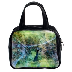 Digitally Painted Abstract Style Watercolour Painting Of A Peacock Classic Handbags (2 Sides) by Simbadda