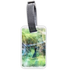 Digitally Painted Abstract Style Watercolour Painting Of A Peacock Luggage Tags (one Side)  by Simbadda