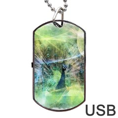 Digitally Painted Abstract Style Watercolour Painting Of A Peacock Dog Tag Usb Flash (one Side) by Simbadda
