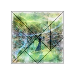 Digitally Painted Abstract Style Watercolour Painting Of A Peacock Acrylic Tangram Puzzle (4  X 4 ) by Simbadda