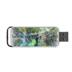 Digitally Painted Abstract Style Watercolour Painting Of A Peacock Portable Usb Flash (two Sides) by Simbadda