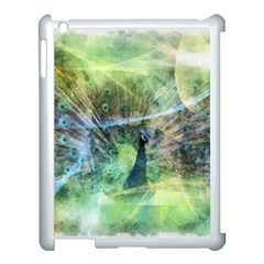Digitally Painted Abstract Style Watercolour Painting Of A Peacock Apple Ipad 3/4 Case (white) by Simbadda