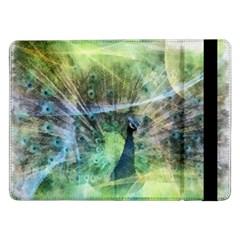 Digitally Painted Abstract Style Watercolour Painting Of A Peacock Samsung Galaxy Tab Pro 12 2  Flip Case by Simbadda