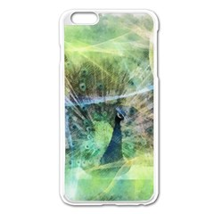 Digitally Painted Abstract Style Watercolour Painting Of A Peacock Apple Iphone 6 Plus/6s Plus Enamel White Case by Simbadda