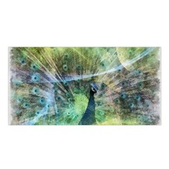 Digitally Painted Abstract Style Watercolour Painting Of A Peacock Satin Shawl by Simbadda