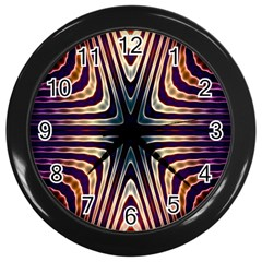 Colorful Seamless Vibrant Pattern Wall Clocks (black) by Simbadda
