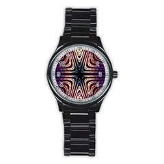 Colorful Seamless Vibrant Pattern Stainless Steel Round Watch by Simbadda