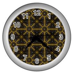 Seamless Symmetry Pattern Wall Clocks (silver)  by Simbadda