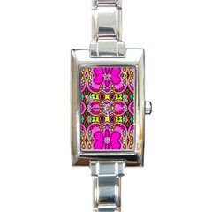 Love Hearths Colourful Abstract Background Design Rectangle Italian Charm Watch by Simbadda