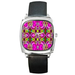 Love Hearths Colourful Abstract Background Design Square Metal Watch by Simbadda