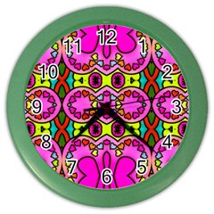 Love Hearths Colourful Abstract Background Design Color Wall Clocks by Simbadda