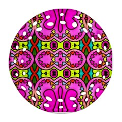 Love Hearths Colourful Abstract Background Design Round Filigree Ornament (two Sides) by Simbadda