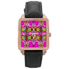 Love Hearths Colourful Abstract Background Design Rose Gold Leather Watch  by Simbadda