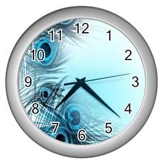 Feathery Background Wall Clocks (silver)  by Simbadda