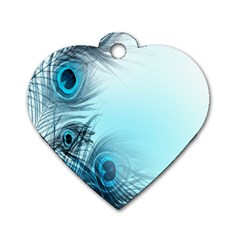 Feathery Background Dog Tag Heart (one Side) by Simbadda