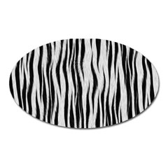Black White Seamless Fur Pattern Oval Magnet by Simbadda