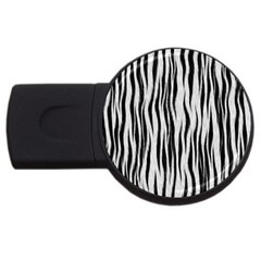 Black White Seamless Fur Pattern Usb Flash Drive Round (2 Gb) by Simbadda