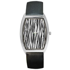 Black White Seamless Fur Pattern Barrel Style Metal Watch by Simbadda