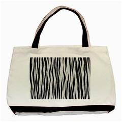 Black White Seamless Fur Pattern Basic Tote Bag by Simbadda
