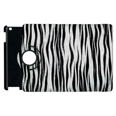 Black White Seamless Fur Pattern Apple Ipad 2 Flip 360 Case by Simbadda