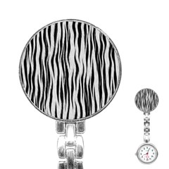Black White Seamless Fur Pattern Stainless Steel Nurses Watch by Simbadda