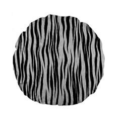 Black White Seamless Fur Pattern Standard 15  Premium Flano Round Cushions by Simbadda