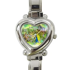 Peacock Digital Painting Heart Italian Charm Watch by Simbadda