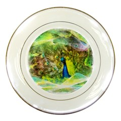 Peacock Digital Painting Porcelain Plates by Simbadda