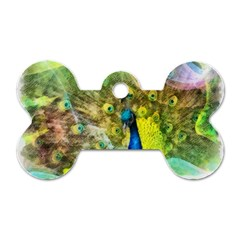 Peacock Digital Painting Dog Tag Bone (two Sides) by Simbadda