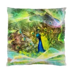 Peacock Digital Painting Standard Cushion Case (one Side) by Simbadda