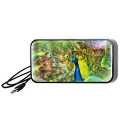 Peacock Digital Painting Portable Speaker (black) by Simbadda