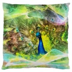 Peacock Digital Painting Large Cushion Case (one Side) by Simbadda