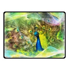 Peacock Digital Painting Double Sided Fleece Blanket (small)  by Simbadda