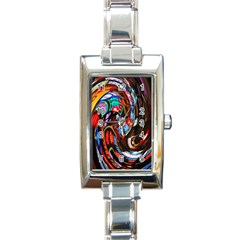 Abstract Chinese Inspired Background Rectangle Italian Charm Watch by Simbadda