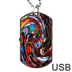 Abstract Chinese Inspired Background Dog Tag Usb Flash (one Side) by Simbadda