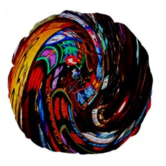 Abstract Chinese Inspired Background Large 18  Premium Round Cushions by Simbadda