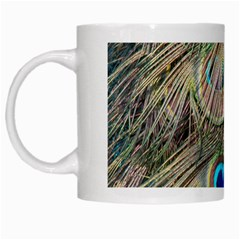 Colorful Peacock Feathers Background White Mugs by Simbadda