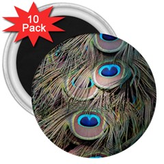 Colorful Peacock Feathers Background 3  Magnets (10 Pack)  by Simbadda