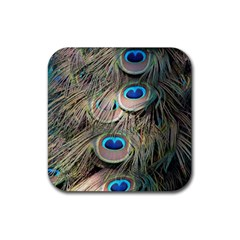 Colorful Peacock Feathers Background Rubber Square Coaster (4 Pack)  by Simbadda